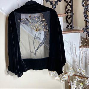 Giorgio Armani black velvet beaded wrap shawl